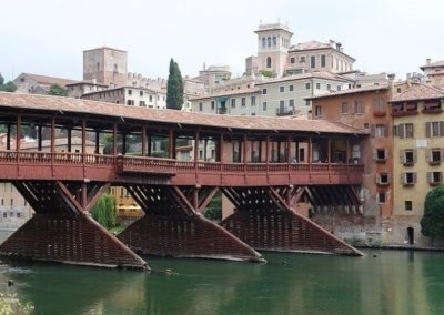The Ponte Vecchio by Andrea Palladio, along the Brenta river in Bassano del Grappa.