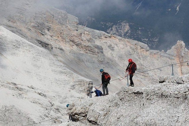 Ferrata Cristallo Dolomite mountains day excursion with professional alpine guide