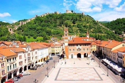 Chess square Marostica middle ages fortified castle, famous for the chess game with alive people