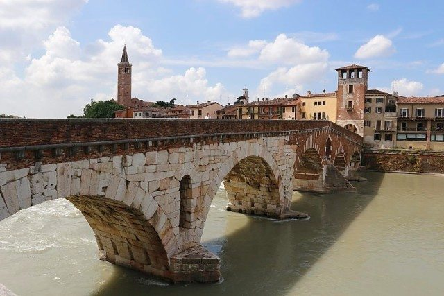 Verona stone bridge on the Adige river
