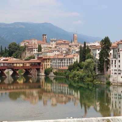 Bassano del Grappa Alpines bridge along prealp foothills