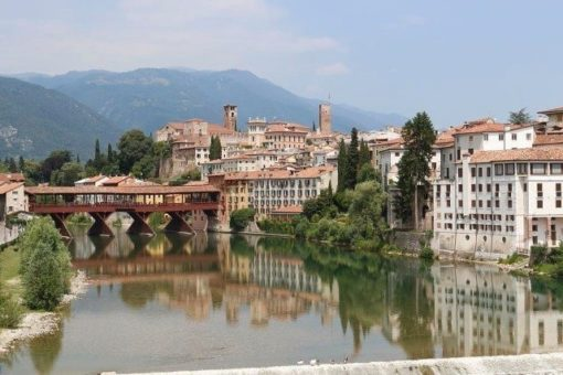 Bassano del Grappa Alpines bridge along prealp foothills