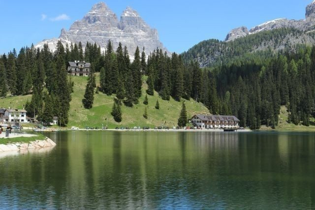 Misurina lake Dolomite mountains day excursion, Unesco world heritage since 2009. Winter ski resort and hiking place. To visit during a sightseeing with professional driver