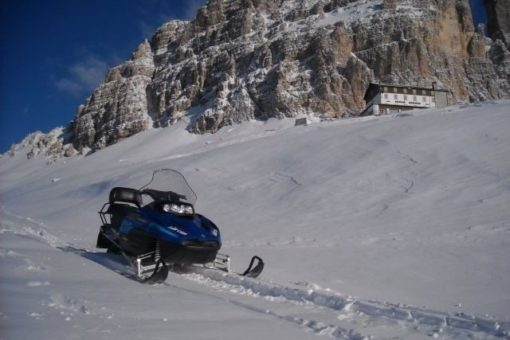 Snowmobile Dolomite Mountains 3 cime