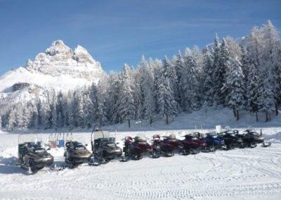Snowmobile Misurina Dolomite mountains