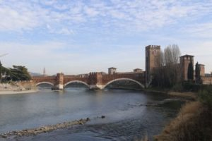 Scaliger bridge Verona, on the adige river. Connected to the castle of the middle ages, residence of the lords of Verona. During the medieval period