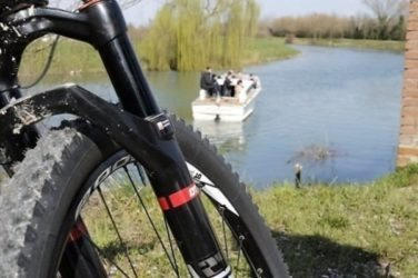 cycling along Sile river, venice area, Italy