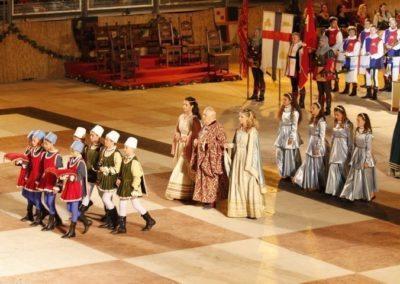 Jeu d'échecs de Marostica, le castellan avec ses filles lionora et oldrada