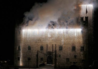 Lower castle marostica on fire during the chess game show