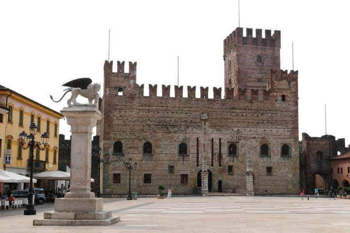 Medieval lower castle in Marostica, chess square