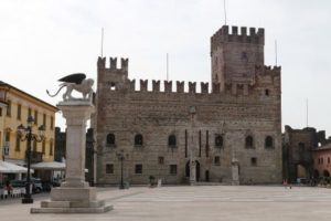 Marostica castle chess square, along the foothills of the prealps mountains. The perfect example of a medieval walled town, built with 2 castles