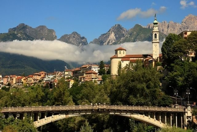 Belluno Veneto region Dolomite mountains art city to visit during a day axcursion