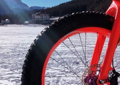 Fat bike Misurina Dolomite mountains