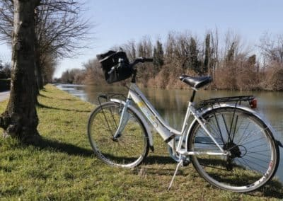 Bicycle excursion Brenta waterway Venetian villas, to visit during a day tour with a wine tasting. Sightseeing in Italy with assistant