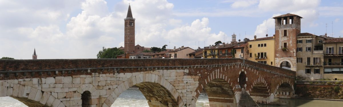Verona art city roman stone bridge Adige river, town ruled by the Scaligers during the Middle Ages