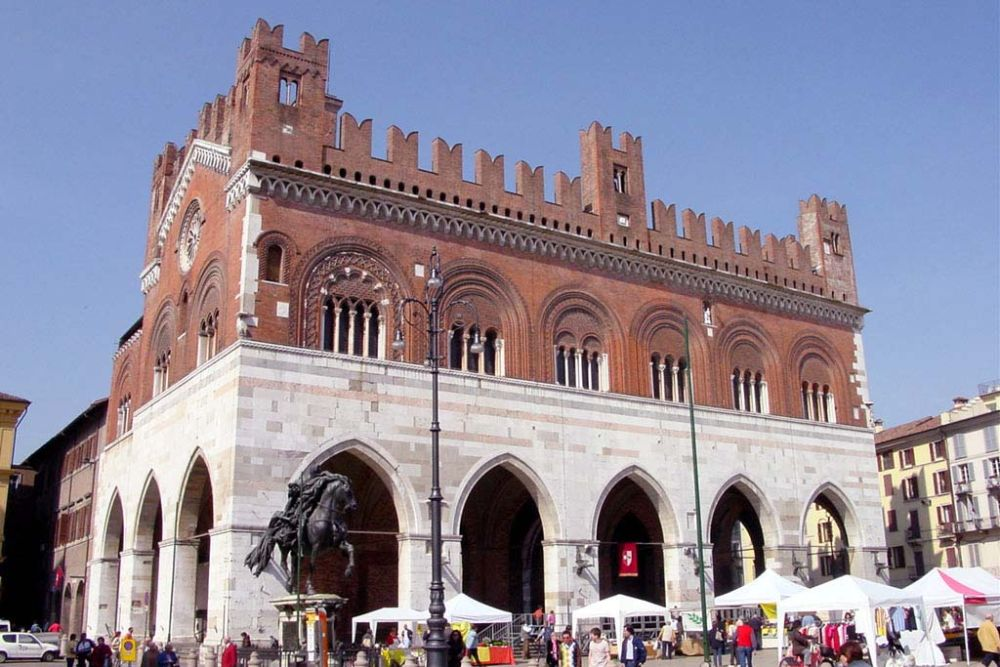 Piacenza historic center with two bronze equestrian statues Emilia Romagna , Italy