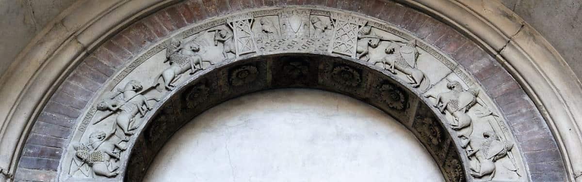 Porta della Pescheria Arthurian scene cathedral of Modena medieval town, unesco world heritage