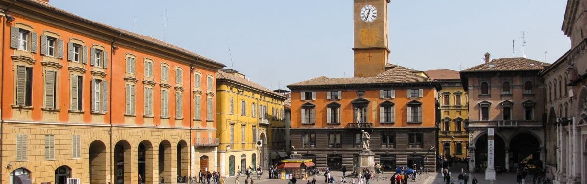 Reggio Emilia Prampolini square, between Modena and Parma in Emilia Romagna
