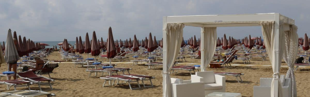 Rimini beach resort along the Adriatic sea, Roman site and Malatesta domain. Emilia Romagna region