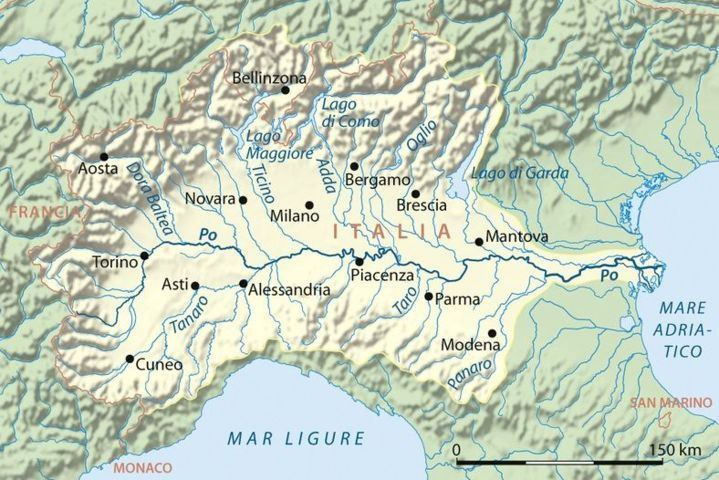 Po River map from the Alps to the Adriatic sea in the North of Italy