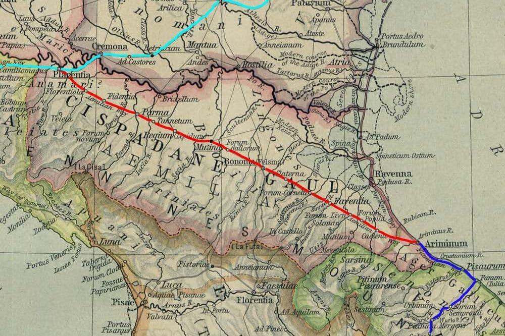 Via Aemilia route romaine , entre la vallée du Pô et les montagnes des Apennins, parcs nationaux, Italie du nord