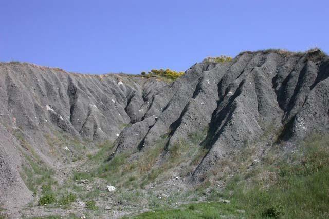 Gullies Emilia Romagna Apennine ridge, North Italy
