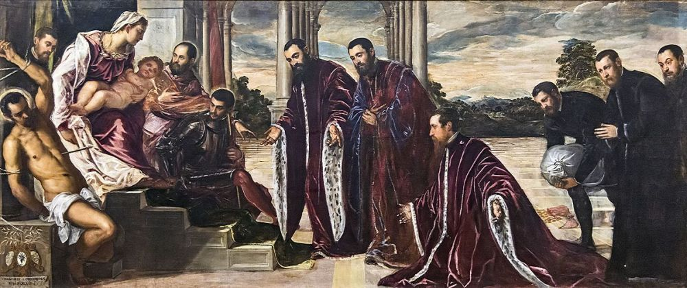 Madonna dei camerlenghi by Tintoretto, Gallerie dell'Accademia in Venice. A votive painting commissioned by magistrates Michele Pisani, Lorenzo Dolfin and Marin Malipiero