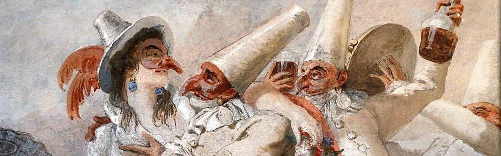 Giandomenico Tiepolo pulcinella innamorato, Venetian artist, Villa Zianigo, artists list veneto region Italy