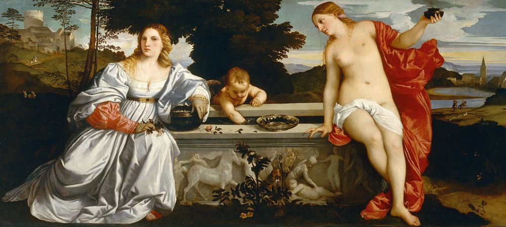 Sacred and Profane Love, Galleria Borghese, oil painting by the Italian renaissance painter Titian, commissioned by Niccolò Aurelio