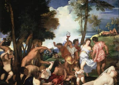 The Bacchanal of the Andrians, an oil painting by Titian held at the Museo del Prado in Madrid. it was commissioned by Alfonso I d'Este