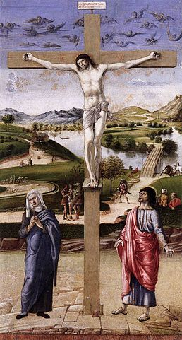 Crucifixion, Museo Correr Venice, painting by Giovanni Bellini. it shows the crucified Jesus on a broad landscape background. The deep blue sky is populated by cherubims who are weeping his death. In the lower part are Mary and St John.