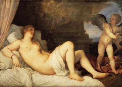 Danaë, National Museum of Capodimonte. Titian and his workshop produced at least six versions of the painting, which vary to degrees.