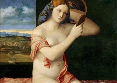 Naked Young Woman in Front of a Mirror, Kunsthistorisches Museum, Vienna. Painting by the Venetian artist of the renaissance Giovanni Bellini