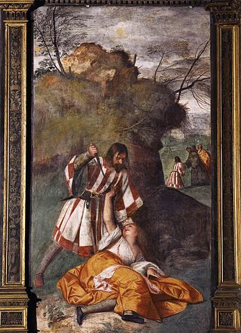 The Miracle of the Jealous Husband, by the Renaissance venetian painter Titian, at the scuola del Santo, basilica of saint anthony, padua