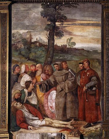 The Miracle of the Healed Foot, by the young venetian painter Titian, at the scuola del Santo, basilica of saint anthony, padua