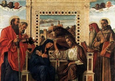 coronation of the virgin, pesaro altarpiece, painting by the venetian painter giovanni bellini located at pesaro city museums