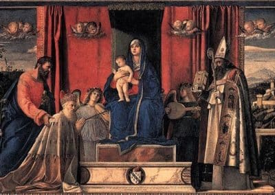 Barbarigo Altarpiece or Enthroned Madonna and Child with Angel Musicians and Saint Mark, Saint Augustine and Doge Agostino Barbarigo. painting by Giovanni Bellini