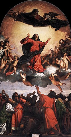 Assumption of the Virgin, a large altarpiece panel painting in oil by the Italian Renaissance artist Titian on the high altar of the Basilica di Santa Maria Gloriosa dei Frari or Frari church in Venice.