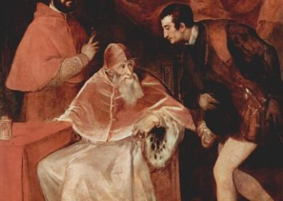 Pope Paul III and His Grandsons Ottavio and Alessandro, Titian, museo di Capodimonte Naples. oil on canvas