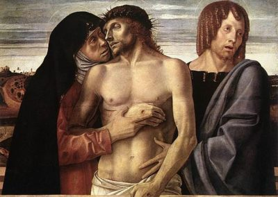 Pietà or The Dead Christ Supported by the Virgin Mary and St John the Evangelist, painting by Giovanni Bellini, in the Pinacoteca di Brera in Milan