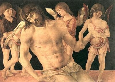 Dead Christ Supported by Angels or Pietà by the early Renaissance painter Giovanni Bellini, now in the city museum of Rimini
