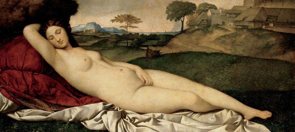 Giorgione high renaissance Italian artist, sleeping Venus, single nude woman, Gemäldegalerie Alte Meister, Dresden.