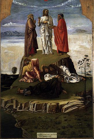 Transfiguration, Museo Correr Venice, painting by Giovanni Bellini. it shows Elijah and Moses flanking Christ. below them are the disciples Peter, James and John blinded by the vision on Mount Tabor.