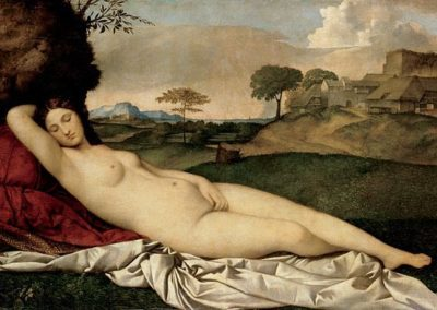 Sleeping Venus, Giorgione, Gemäldegalerie, Dresden. Painter of the Italian Renaissance, born in Castelfranco Veneto, in Veneto, he was a pupil of Giovanni Bellini. One of Giorgione's latest works, it represents a nude woman whose profile seems to echo the rolling contours of the hills in the background.