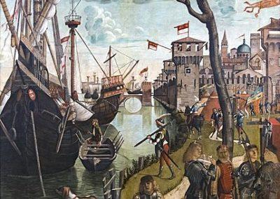 L'arrivée de Sainte Ursule à Cologne par Vittore Carpaccio. Tempera sur toile situé à la Gallerie dell'Accademia de Venise, région de la Vénétie, Italie