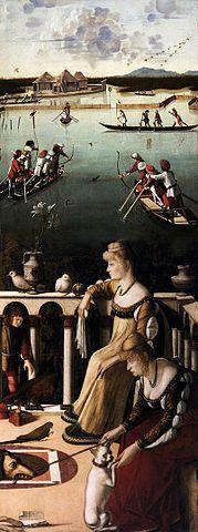 Chasse au canard sur la lagune et Deux Dames vénitiennes (reconstruction), J. Paul Getty Museum et musée Correr de Venise, tableau de l'artiste vénitien de la Renaissance Vittore Carpaccio