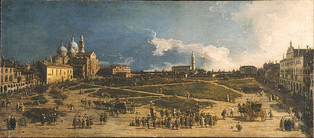 Pra della Valle Padova, Museo Poldi Pezzoli, Milano, painting by Canaletto, venetian artist of city views of vedute, eighteenth century