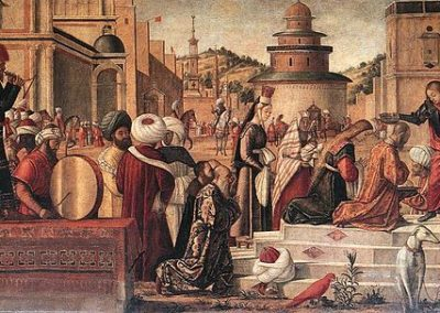 Saint Georges baptisant les Silénites, Scuola di San Giorgio degli Schiavoni, peinture de Vittore Carpaccio. Artiste vénitien de la Renaissance