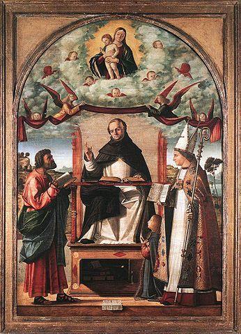 Saint Thomas en gloire entre saint Marc et saint Louis de Toulouse, par Vittore Carpaccio, tempera sur toile situé au musée Staatsgalerie de Stuttgart