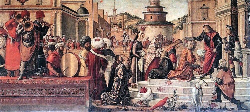 """Saint Georges baptisant les Silénites, Scuola di San Giorgio degli Schiavoni, Venise, par Vittore Carpaccio. Une des séries de sept peintures """"Episodes de la vie de saints Jérôme, George et Triphun"""""""